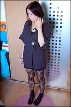 gray Primark cardigan - black Pamela Mann stockings - black Shellys boots - blac