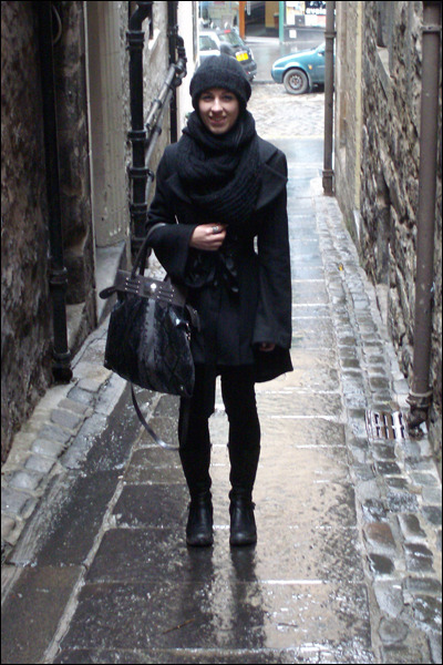 black Topshop coat - black Topshop scarf - black Topshop jeans - black Dolcis bo