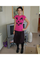 pink Ebay t-shirt - black Topshop skirt