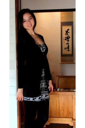 black Target tights - heather gray Market dress - black Zara cardigan
