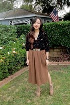 velvet vintage blouse - maxi thrifted skirt - vintage belt
