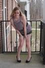 Charcoal-gray-plaid-charlotte-russe-shorts-black-charlotte-russe-heels