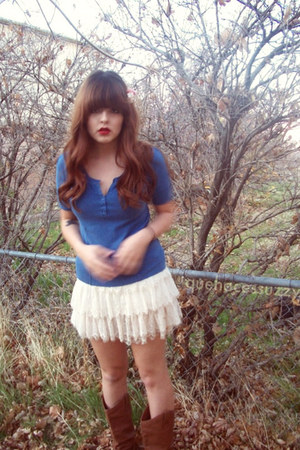 blue targetold blouse - cream Forever 21 skirt - brown wet seal gift boots - pea