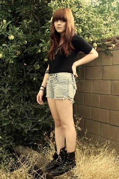 black boots - blue shorts - black vintage top
