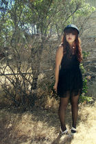 black thrifted dress - white Charlotte Russe shoes - blue vintage hat