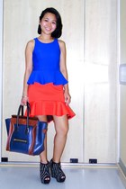 navy Celine bag - carrot orange peplum hem asos skirt