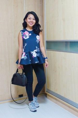 black Louis Vuitton bag - navy floral peplum cmeo collective top