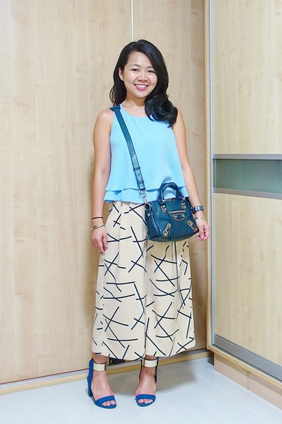 blue ankle strap Zara heels - teal balenciaga bag - light blue flowy Topshop top