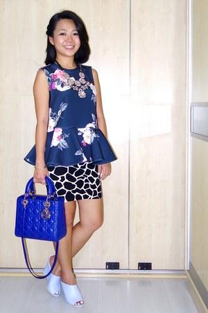 blue lady dior dior bag - black Topshop skirt
