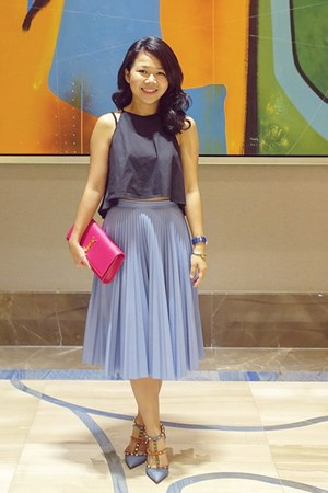 blue Philip Stein watch - hot pink Yves Saint Laurent purse