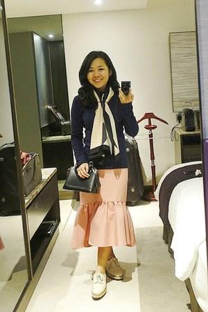 bubble gum peplum hem asos skirt - ivory Topshop shoes - black Louis Vuitton bag