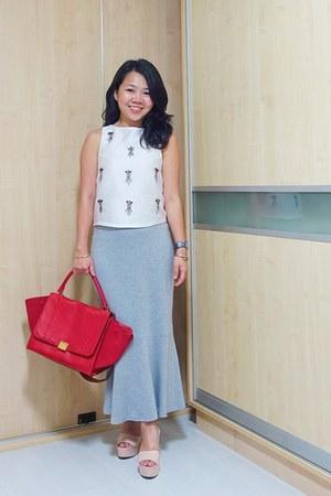 silver Charriol bracelet - red Celine bag - heather gray The Fifth Label skirt