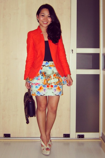 floral peplum Zara skirt - Zara jacket - perfect edge Chanel bag