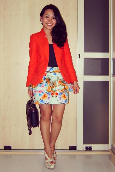 floral peplum Zara skirt - Zara jacket - perfect edge Chanel bag