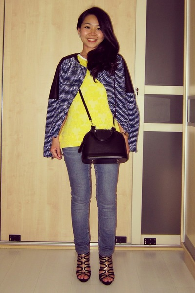 leather  tweed Zara jacket - alma bb Louis Vuitton bag - Zara top