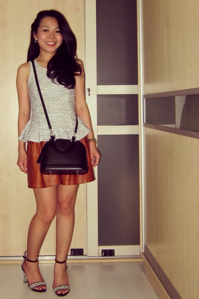 heather gray peplum Topshop top - black epi alma bb Louis Vuitton bag