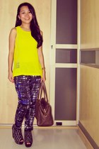 neon H&M top - Louis Vuitton bag - Zara wedges - lines  stripes H&M pants