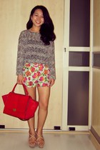 camel Zara wedges - red Celine bag - orange floral shorts shorts