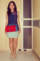 green tweed Zara skirt - red boy bag Chanel bag