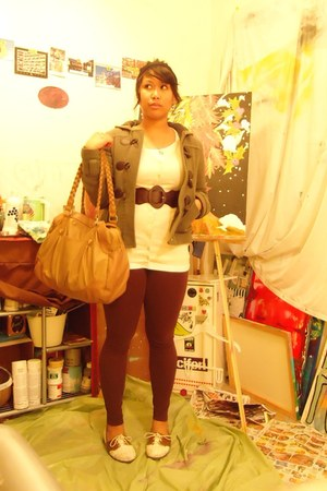 brown BDG shoes - olive green thrifted jacket - camel H&M bag - dark brown Forev
