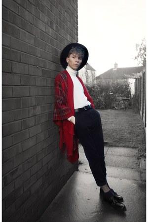 fedora H&M hat - tartan cape Zara cape - roll neck vintage from Ebay jumper