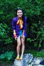 Purple-vintage-value-village-blazer-orange-thrifted-blouse-blue-old-navy-sho