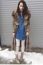 blue thrifted top - beige Aldo shoes - dark brown thrifted vintage coat