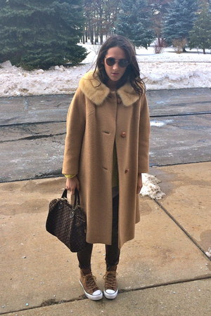 bronze thrifted vintage coat - dark brown Louis Vuitton bag