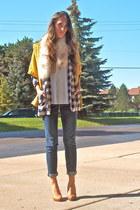 blue vintage blazer - blue Levis jeans - mustard Forever 21 sweater