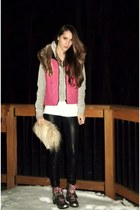 brown kensine boots - black Walmart leggings - camel White and Black purse - hot
