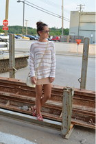 nude Target dress - white Urban Outfitters sweater - ivory vintage chanel purse