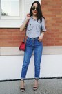 Navy-thrifted-vintage-jeans-red-chanel-bag-dark-gray-ray-ban-sunglasses