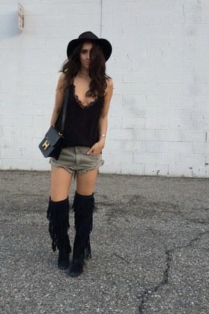 black sam edelman boots - black vintage hat - black Hermes bag