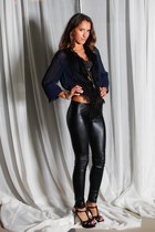 black bakers shoes - black members only leggings - navy blouse