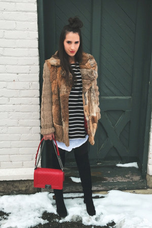 black thrifted vintage boots - dark brown vintage coat - red Chanel bag