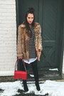 Black-thrifted-vintage-boots-dark-brown-vintage-coat-red-chanel-bag