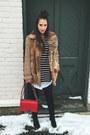 Black-thrifted-vintage-boots-dark-brown-vintage-coat-red-chanel-bag