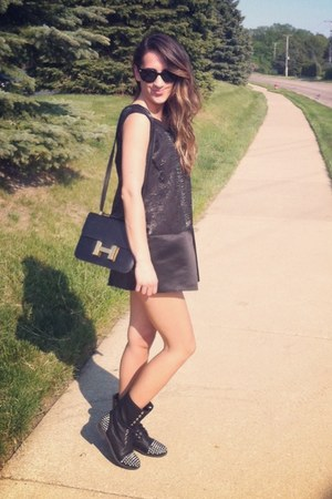 black Target boots - gray vera wang dress - forest green vintage Hermes bag