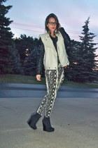 off white TJMaxx vest - charcoal gray Love Culture pants - black Bakers wedges