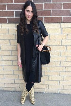 black Gucci bag - mustard thrifted vintage boots - dark gray J Brand jeans
