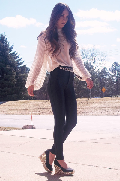 black thrift shoes - black american apperal leggings - ivory vintage blouse - wh