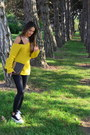 Black-h-m-leggings-yellow-thrift-sweater-dark-brown-vintage-fendi-bag