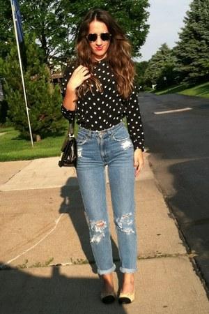 thrifted vintage jeans - Hermes vintage bag - Ferre Vintage sunglasses