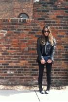 black studded boots - black Vintage motorcycle leather jacket