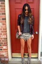 gray Vintage Gucci bag - dark khaki Forever 21 boots