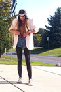 Brown-tjmaxx-top-white-vintage-blazer-navy-gucci-scarf-blue-levis-shorts