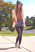 brown TJMaxx top - white vintage blazer - navy Gucci scarf - blue Levis shorts