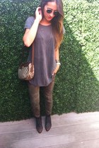 green Vintage Gucci bag - black thrift boots - silver Zara t-shirt