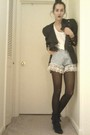 Black-salvation-army-blazer-white-victoria-secret-t-shirt-blue-salvation-arm