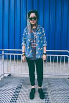 black suede FLAVROS shoes - blue lightning denim unknown shirt